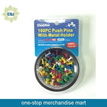 Push pins with metal holder