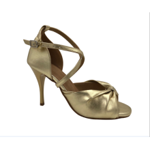 Girls gold latin shoes with high heel