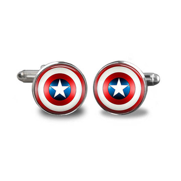 Superhero Captain America Silver Cufflinks Set