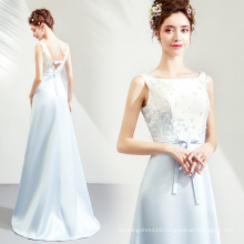 2019 Spring Fashion Light Blue Evening Gowns Sequined Satin Long Evening Party Dresses with short tail