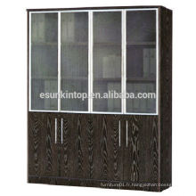 Étagère porte-vitre en verre couleur chêne foncé, meuble pour bureau à vendre (KB844-1)