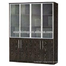 Glass door book shelf dark oak color, furniture for office for sale (KB844-1)