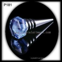 Tapón de la botella de vino de cristal real azul