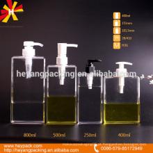 250/400/500 / 800ml bomba de plástico retângulo forma garrafa