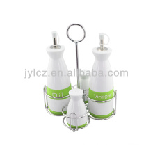 cruet oil and vinegar bottle set with metal stand