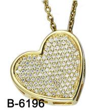 Neues Design 925 Reine Silber Micro Einstellung Herzform Charme. (B-6196)