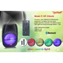 Bluetooth Plastic Portable Trolley Speaker 15 Inch /FM /USB/SD/Remote F19t