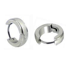 Stainless Steel Mens Huggie Hoop Stud Earrings Silver Tone Hoop Earring in Surgical Steel HE-024