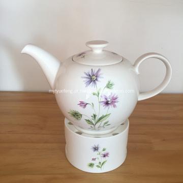 Conjunto de bule de cerâmica branca e Tealight