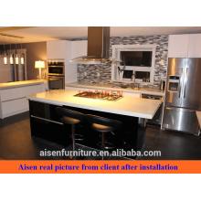 Cliente compartilhar fotos material de laca brilhante gabinete de cozinha de design moderno