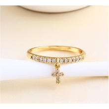 Xuping Fashion Cross Ring avec 14k plaqué or