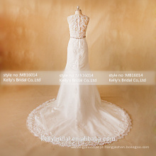 MB16014 Design de pescoço alto Lace Appliqued See-through Back Vestidos de casamento sexy A-Line Classic frisado Sash Beautiful Wedding Gown