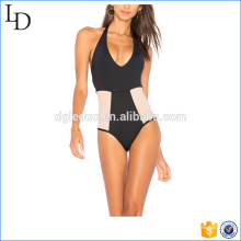 Top qualidade design lycra swimwear biquíni de uma peça transparente