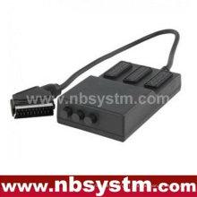 Scartbox 21pin Scart plug to 3 x 21pin Scart jacks box (avec interrupteur)