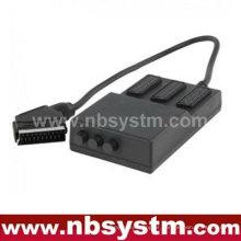 Scartbox 21pin Scart plug to 3 x 21pin Scart jacks box (com interruptor)