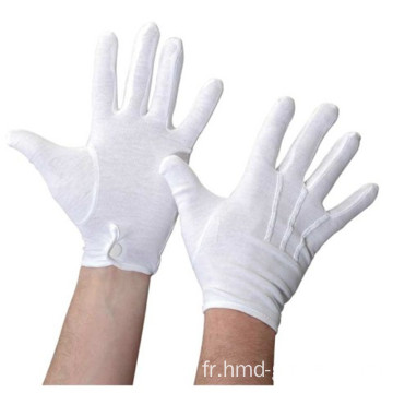 Interlock 100% coton Gants de coton fins blancs