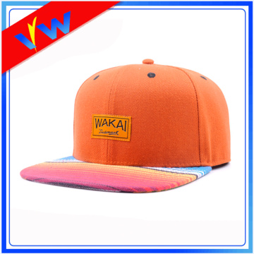 Promotion Custom PU Logo Flat Bill Cap