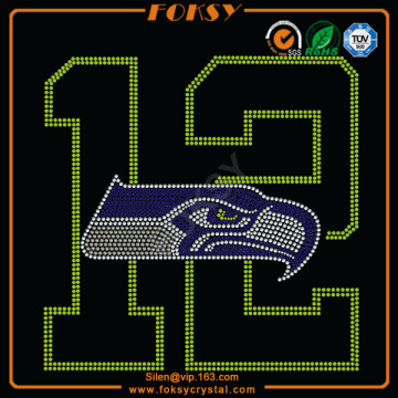 Holiday sales for Nfl Teams Rhinestone Transfer Seattle Seahawk 12 iron on crystal letters transfers supply to United States Factories