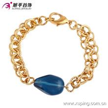 Мода элегантных женщин позолоченные ювелирные изделия браслет с большим синим камнем в сплав медь --74192