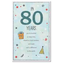 Tarjeta de cumpleaños American Greetings Old Man 80th con tarjeta Glitter Glitter