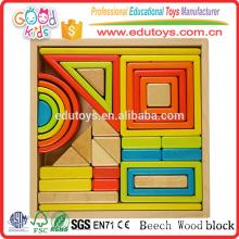 2016 Bloques del bebé de la alta calidad, juguetes educativos populares de los bloques, bloques de madera fijados