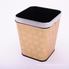 Patrón de dragón de oro Patrón de piel de estilo chino cubierto cubo de basura