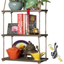 Rustic Home Decor Bookshelf Window Plant Shelves Wood Hanging Shelf Wall Swing Storage Shelves Jute Rope Organizer Rack