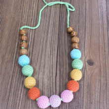 Muticolor Design Crochet Wood Beads Necklace