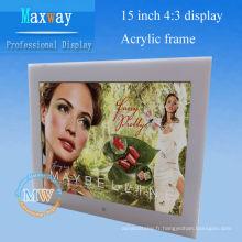 Cadre photo numérique de 15 pouces pour bureau ou mur