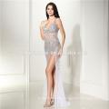 White Split transparent Lady Maxi appliqued Matel Schärpe Backless Cap Sleeve Abendkleid Damenbekleidung Hersteller