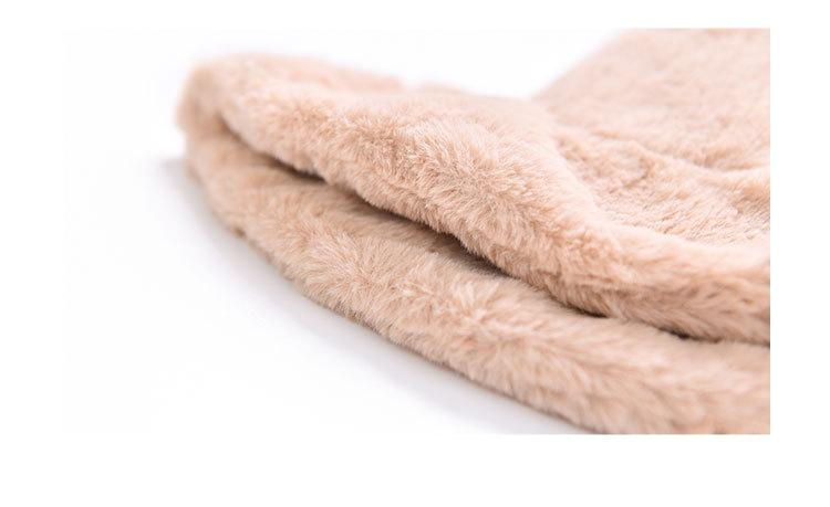 Fisherman hat lady autumnwinter plush basin hat Korean monochrome flat top wide eaves casual fashion thick fur warm hat (8)
