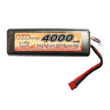7.4V/4,000mAh Lithium Polymer Battery Pack for RC Cars with 30c Continuous Discharge Current