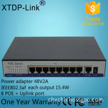 IEEE802.3af outdoor power supply 48V 10/100M 9 port poe switch for ip camera switchs shenzhen use for hidden cameras