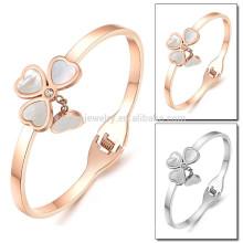 2015 новых розовое золото четырех листьев природных цвет оболочки браслет женских корейских диких моды титана сталь ювелирные изделия GH726
