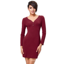 Kate Kasin Sexy Women's Long Sleeve V-Neck Button Front Cheap Wine Tight Skirt Mini Short Dress KK000300-2