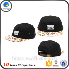 custom 5 panel leather strap back hat
