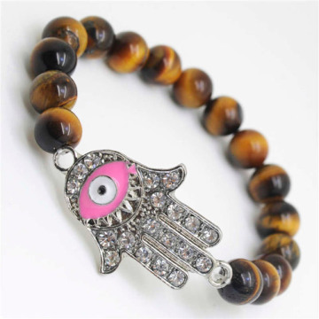 Yellow Tiger eye Gemstone Bracelet with Diamante Evil eye Piece