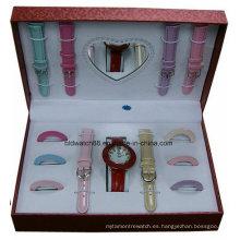 Juego de regalo reloj y correas intercambiables con anillos intercambiables