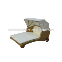 Outdoor Rattan Sun Lounger With Wheels and Canopy