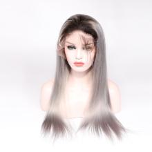 Vente chaude 8A grade 100% vierge brésilienne de cheveux humains en dentelle perruque avant de pleine perruque de lacet ombre couleur corps vague 1b gris