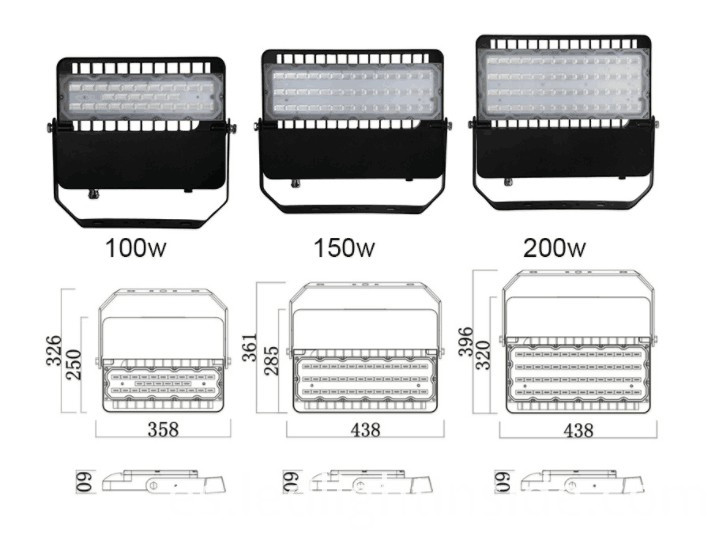 LED Flood Light Fixture Size