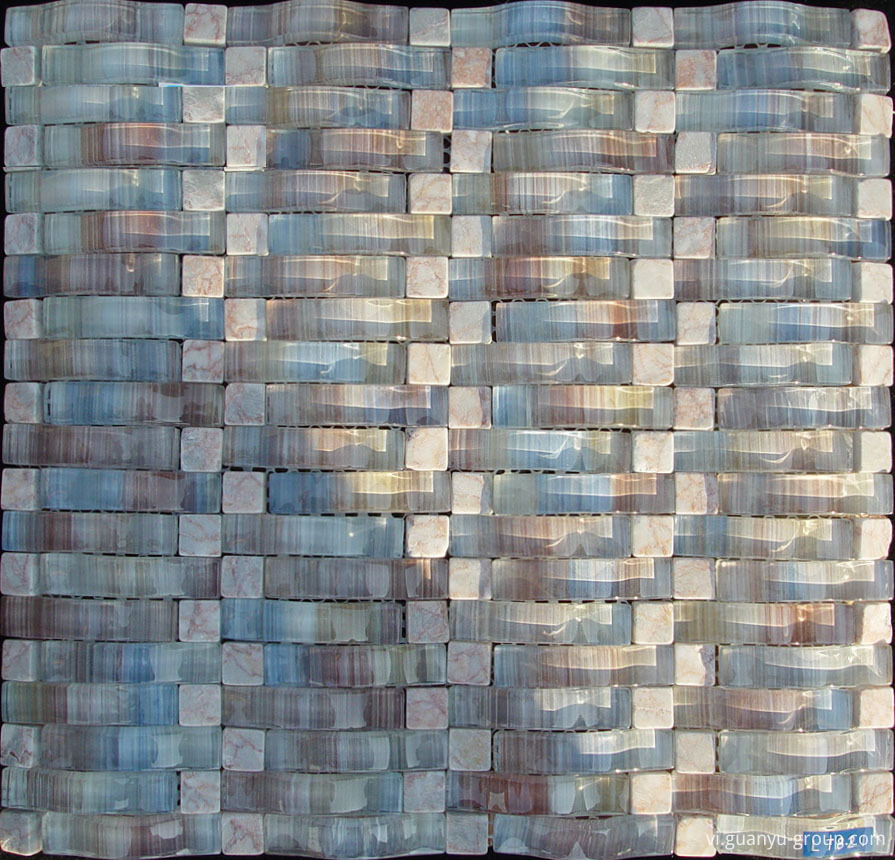 Arch Glass Mixed Stone Mosaic Tile