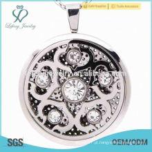 Locket bonito da flor de cristal, locket do perfume, medalhão do difusor do óleo essencial
