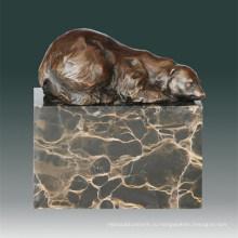 Статуя медведя животного медведя спящая бронзовая скульптура Tpal-271