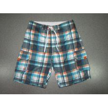 Yj-3023 Mens Microfiber Klettverschluss elastische Taille Hosen Plaid Shorts für Männer