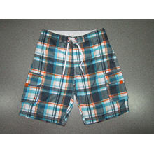Yj-3023 Mens Microfiber Velcro Elastic Waist Pants Plaid Shorts for Men