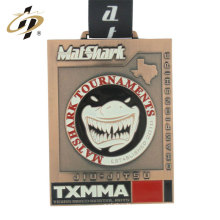 Custom logo bronze sports metal jiu-jitsu medal with ribbon