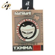 Logotipo personalizado bronze esportes medalha de jiu-jitsu de metal com fita