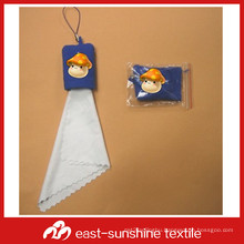 microfiber emboss printing cleaning cloth key chain
