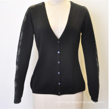 100%Merino Wool Women Deep V-Neck Lace Sleeve Cardigan with Button